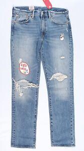 Levi-039-s-Cock-Men-039-s-511-Slim-Fit-Zip-Skinny-Jeans-Blue-Denim-Destroyed-Stonewashed