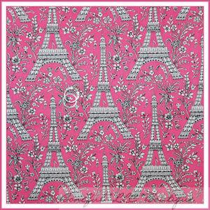 Boneful Fabric Fq Cotton Quilt Eiffel Tower Pink Rose