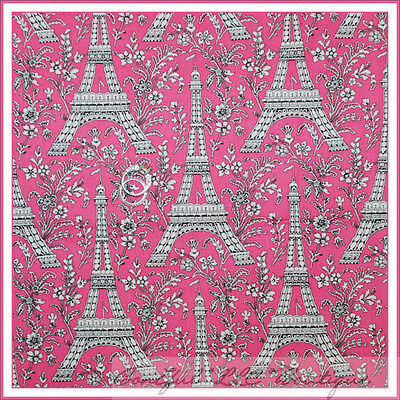 BonEful Fabric FQ Cotton Quilt Eiffel Tower PINK Rose Flower Paris Europe Travel