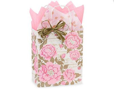 8x4x10 100 White Kraft paper shopping gift  bags high quality wholesale bulk