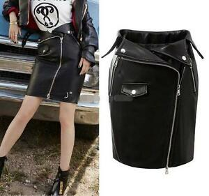 178881e63 Women black spring pu leather Oblique zipper MINI SKIRT dress skirts ...