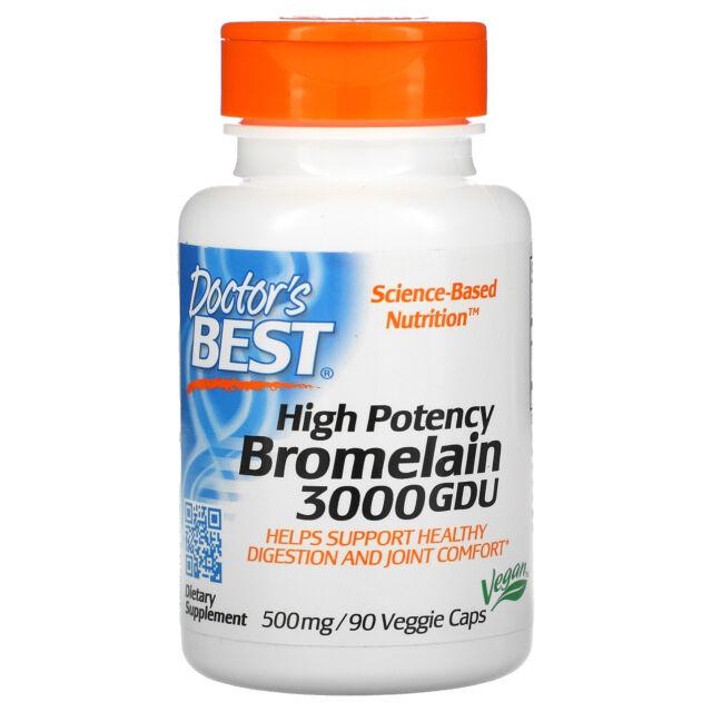 Doctor s Best Best 3000 GDU Bromelain 500 mg 90 Veggie Caps Vegan
