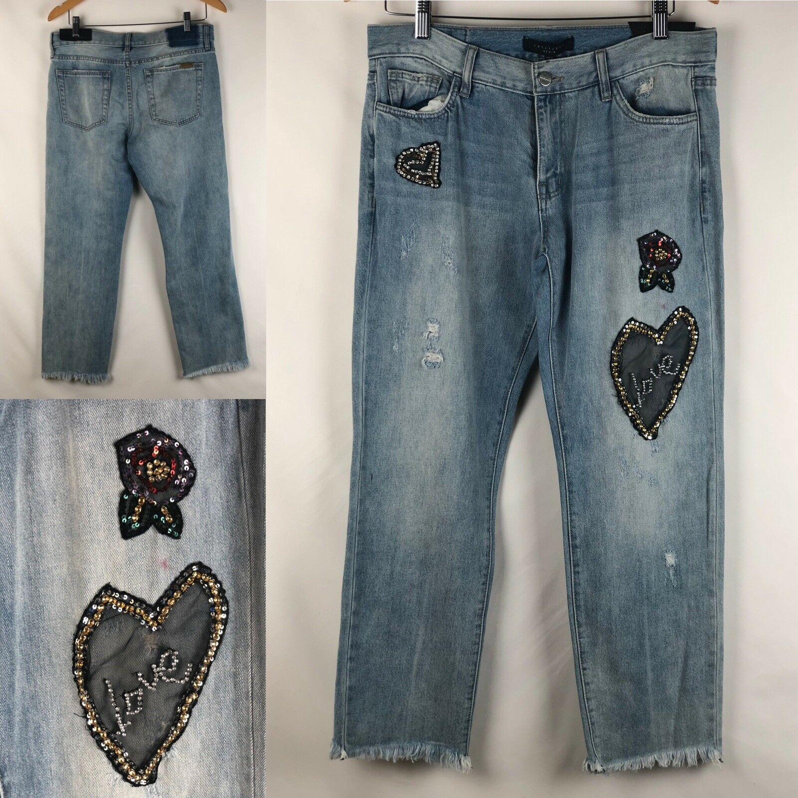 Sanctuary Denim Womens Heart Breaker bluee Destroyed Boyfriend Jeans Size 28