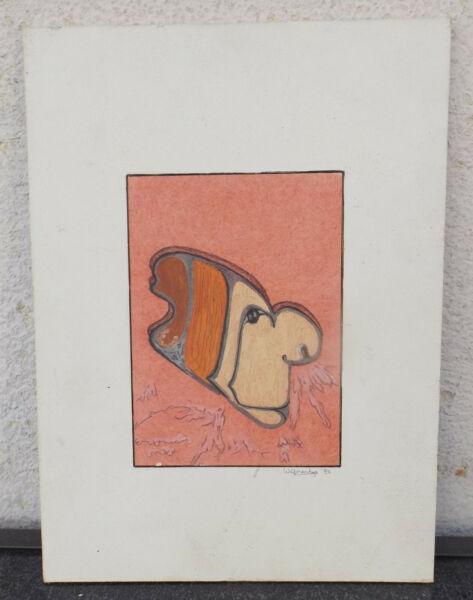 """"""" Gesicht/kopf Abstrakt Komposition """"mischtech./mktn. Sign./dat.weiler Antje 82"""