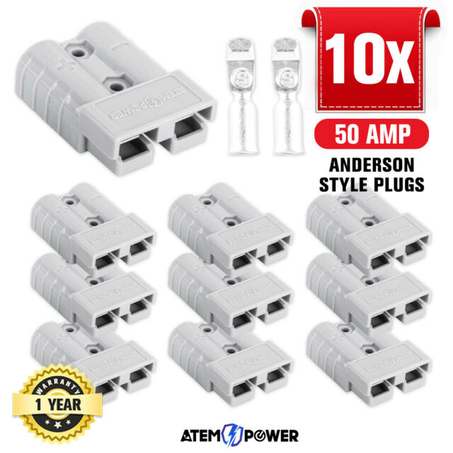 10PCS Anderson Style Plug Connectors 50 AMP 12-24V 6AWG DC Power Tool