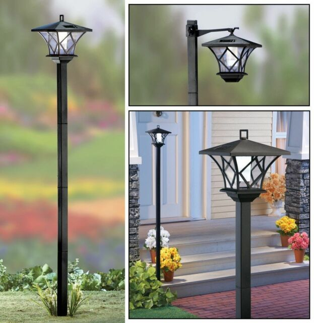 5 Ft Tall Solar Ed 2 In 1 Outdoor Garden Lantern Lamp Post Light Yard Stake