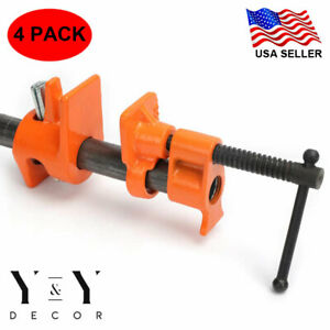 """4 Pack 1//2/"""" Wood Gluing Pipe Clamp Set Heavy Duty PRO Woodworking Cast Iron Tool"""