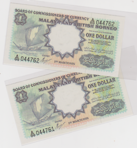 Mazuma *M1050 Malaya 1959 $1 A/88 044761-62 老假票 Counterfeit Trojan Watermark UNC