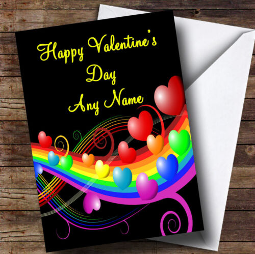 Rainbow And Hearts Romantic Personalised Valentine/'s Greetings Card