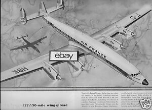 AIR FRANCE 1958 CONSTELLATION STARLINER 177,00 MILE WINGSPAN 2 PG ...