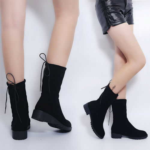 Fashion Womens Lady Mid Lace-Up Boots Low Flat Heel Slip On Winter Casual Shoes