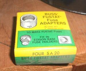 4-PK-LOT-SA-20-Amp-FUSESTAT-Plug-BUSS-Adapter-Fit-EDISON-BASE-Holder-NEW-NOS