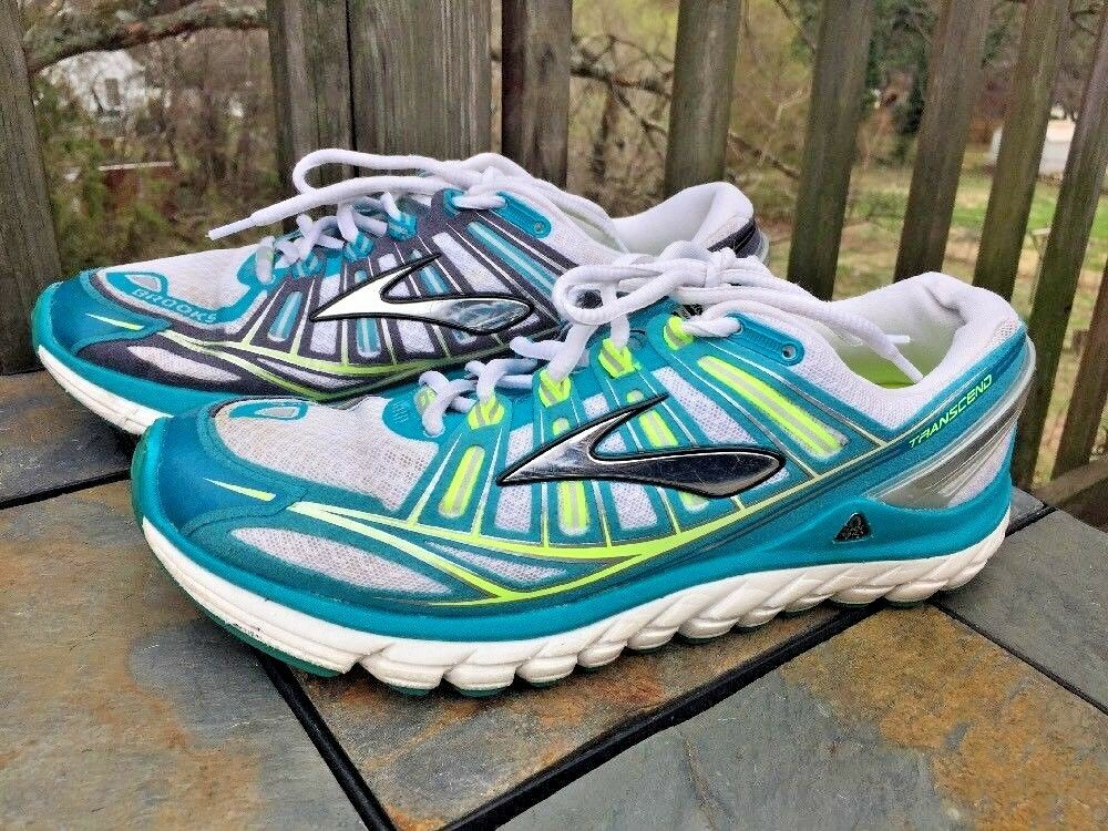 BROOKS Transcend Yoga Running Walking Training BLUE & LIME Shoes Womens Sz 11