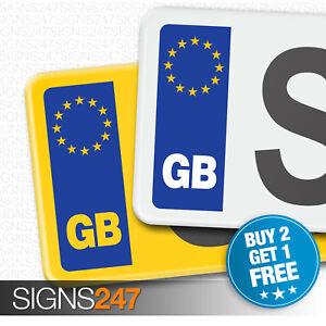 PAIR GB CAR NUMBER PLATE STICKERS - EU European Vinyl Car Sticker Decal