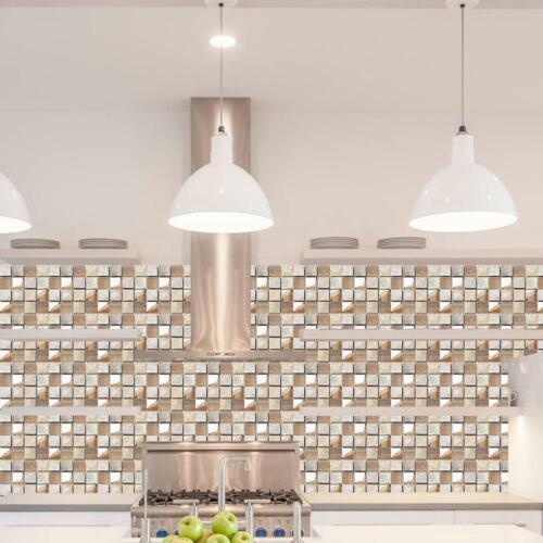 PVC Mosaic Self-adhesive Bathroom Kitchen Decals Decor Home Wall 3D Tile Sticker
