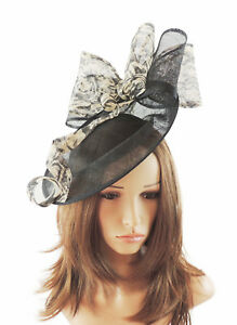 Image is loading Black-amp-Cream-Fascinator-Hat-For-Weddings-Ascot- 8f640e857342