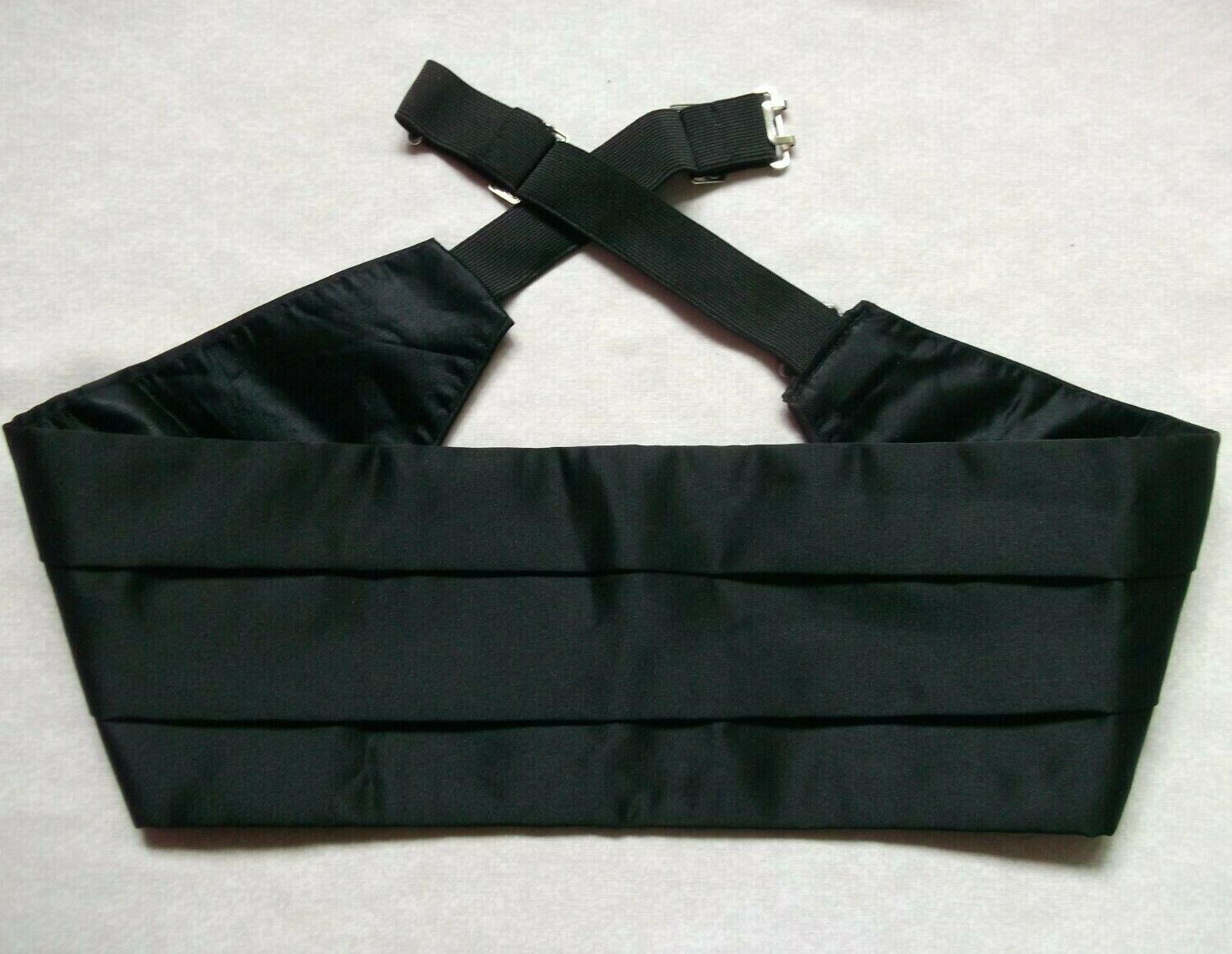 Cummerbund MENS Broad Sash Adjustable PLEATED Black Classic Style