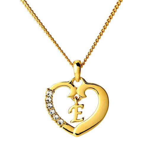 Corazón Collar letra « e » 18k Chapado En Oro Joyas Regalos love//birthday//christmas