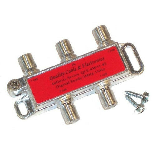 4-WAY CABLE TV ANTENNA SIGNAL SPLITTER QCE-4W