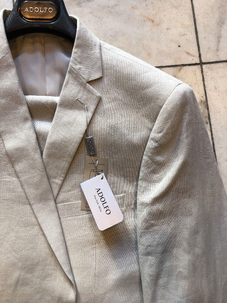 NWT ADOLFO Modern Fit Men's 100% Linen  Suit Khaki color 2BT. Size 56L