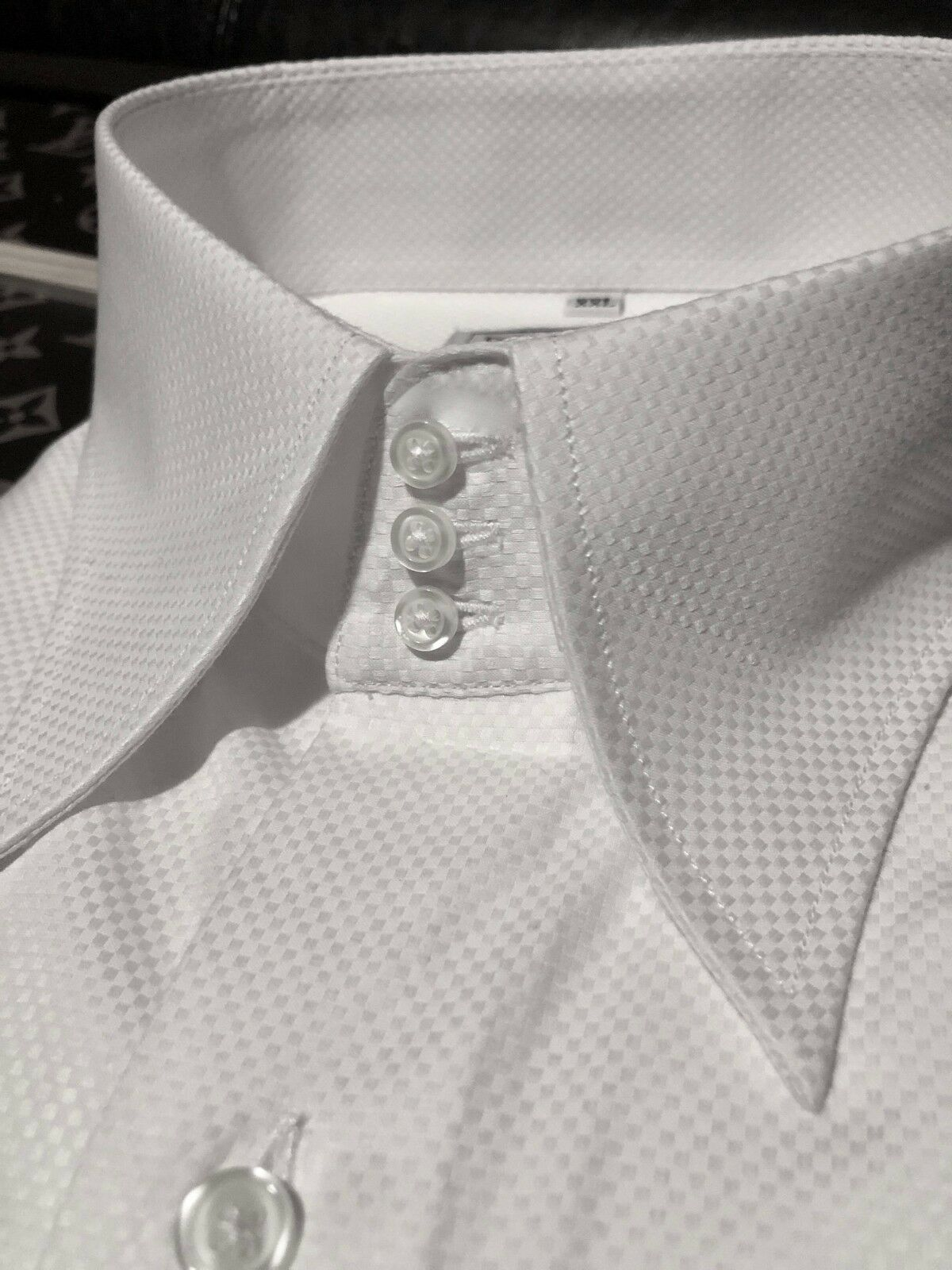 MorCouture White Woven 3 Button High Collar Shirt