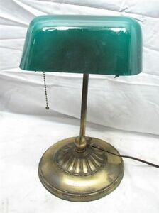 vintage emeralite bankers student desk lamp light emerald green glass shade 8734 ebay. Black Bedroom Furniture Sets. Home Design Ideas