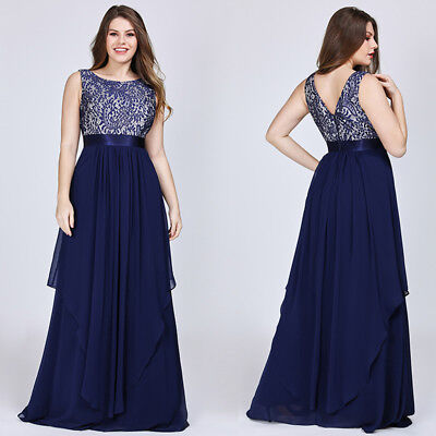 Ever-Pretty US Plus Size Long Applique Evening Party Dress Cocktail Gowns Proms