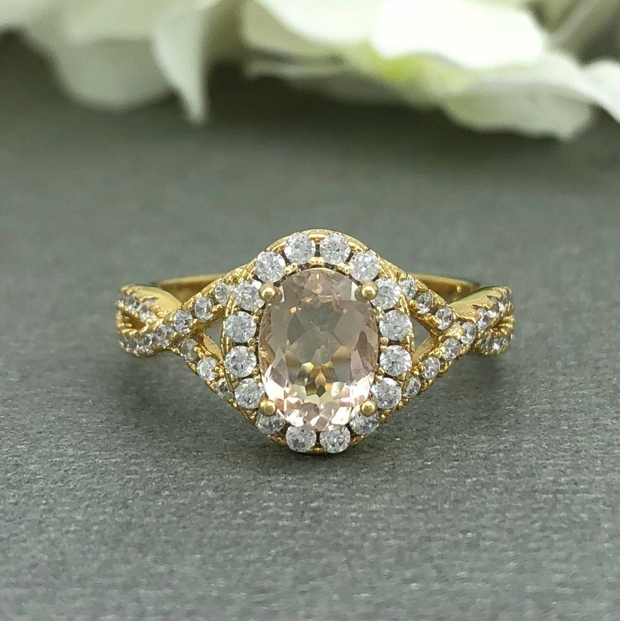 2ct Oval Cut Peach Morganite Halo Infinity Engagement Ring 14k Yellow gold Over