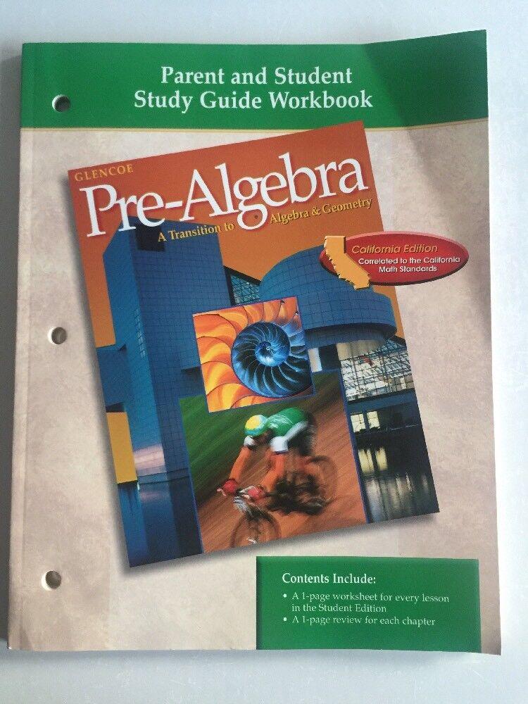 Glencoe Pre Algebra Parent And Student Study Guide Workbook