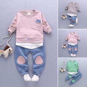 Autunno Neonato Bambino Ragazzi T-Shirt Top & Pantaloni Leggings Completo