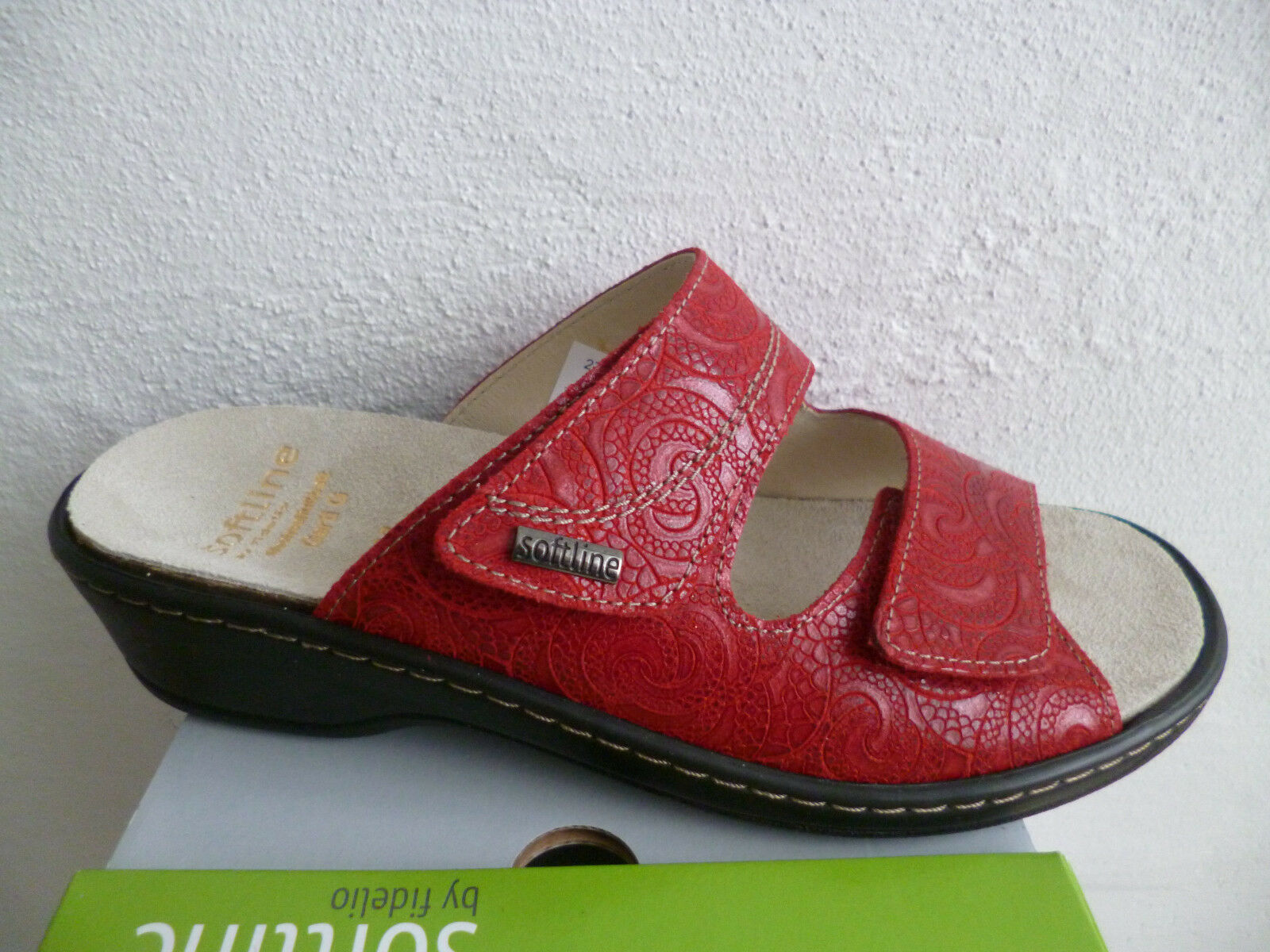 Fidelio Sandali da Donna Sandali Pelle Pantofole Rosso in Pelle Pelle Sandali Plantare Nuovo! d6bcbe