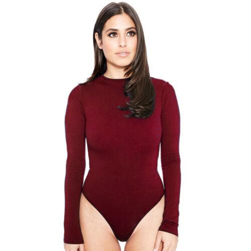 Fashion Women Long Sleeve Tops Bodycon Stretch Bodysuit Leotard Romper Jumpsuit