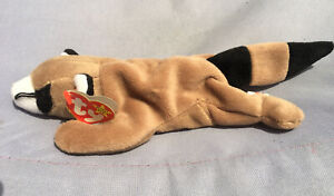 Ty Retired Beanie Baby Ringo Raccoon 1995 With PVC Pellets And Tag