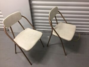 Vintage Cosco Hamilton Metal Folding Chairs White Vinyl