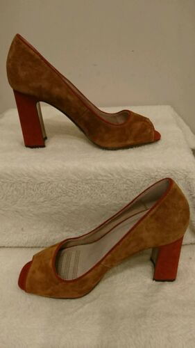 £45 Next Leather Peep Toe Shoes Forever 00 Bnwt Rrp Tan Size 6 Comfort 5 nSxq1H1