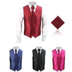 Nouveau Homme Classique Mariage Fête Côtelé 3 Pièces Robe Gilet Cravat Tie Hanky-afficher Le Titre D'origine Mode Attrayante