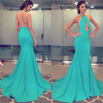 Sexy Women's Backless Slim Wedding Cocktail Party Evening Dress Formal Gown