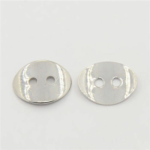 10pcs 2-Hole Oval Brass DIY Clothing Buttons Clasps Platinum 14x10mm Sewing Fits