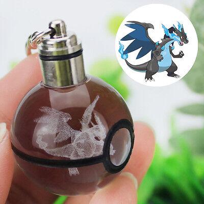 3D Pokemon Kristall Ball  Mega Charizard Nachtlicht Schlüsselanhänger Geschenk