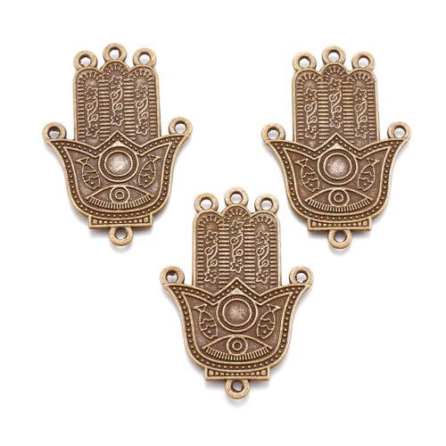 10pcs Tibetan Alloy Hamsa Chandeliers Carved 1//5 Loop Bronze Nickel Free 57x39mm
