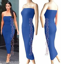 Womens Tube strapless Plain Casual Club Slim Fit Stretch Maxi Bodycon Dress (L)