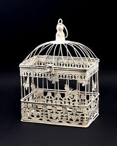 9977532 Métal Oiseau-cage Vintage Blanc Rustique H34cm-afficher Le Titre D'origine