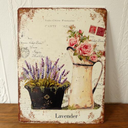 Blechschild Postkarte Lavendel Kanne Rosen Schmetterling französischer Shabby