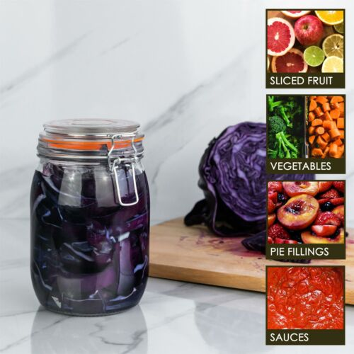 Glass Storage Food Preserve Preserving Clip Top Airtight Jar 1000ml x1