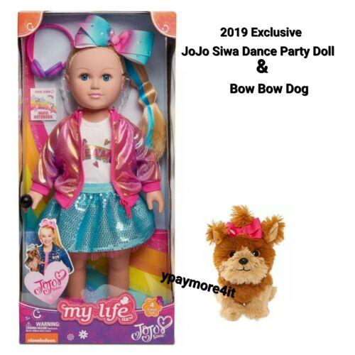 """2019 My Life As JoJo Siwa 18/"""" Soft Torso Doll Dance Party Blond w//Bow Bow Dog"""
