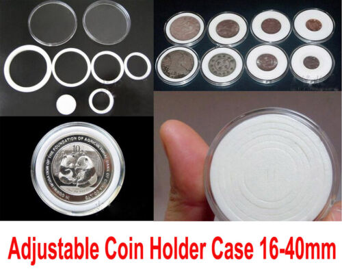50 US Acrylic Capsules Coin Holders Case Adjustable for 16 21 26 31 36mm or more