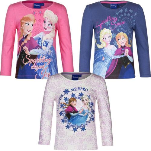 Top Shirt langarm Oberteil Pullover Mädchen Frozen rosa lila beige 104-128 #98
