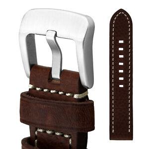 Uhrarmband-24-Leder-dunkelbraun-Schliesse-SEHR-massiv-Fliegeruhren-Retro