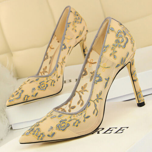 Women Pumps Shoes Embroidery  Flower Shallow Pointed Toe High Heel Party Sandals