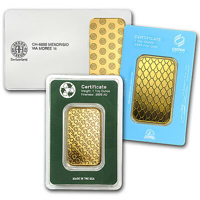 1 oz Gold Bar - Brand Name - In Assay